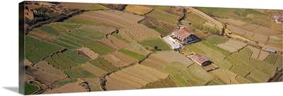 Aerial view of farmhouses in fields, Kathmandu, Nepal
