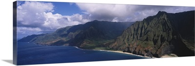 Aerial view of the coast, Na Pali Coast, Kauai, Hawaii
