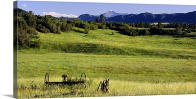 Agricultural equipment in a field, Pikes Peak, Larkspur, Colorado