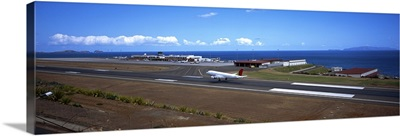 Airplane on the runway at an airport, Funchal Airport, Funchal, Madeira, Portugal