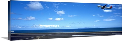 Airplane taking off from a runway, Funchal Airport, Funchal, Madeira, Portugal