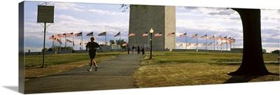 American flags around a monument, Washington Monument, Washington DC
