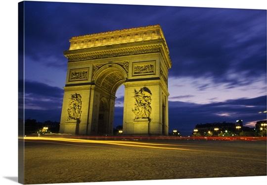 arc de triomphe illuminated at night wall art canvas prints framed