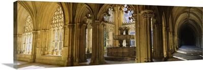 Arched hallway in a cathedral, Batalha Abbey, Portugal