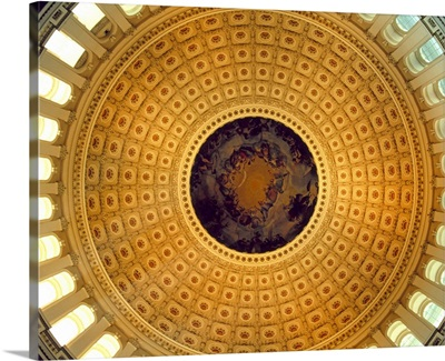 Architectural details of the ceiling of Capitol Building rotunda, Washington DC