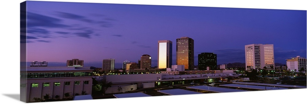 Arizona, Phoenix, Skyline at dusk Wall Art