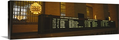 Arrival departure board in a station, Grand Central Station, Manhattan, New York City, New York State