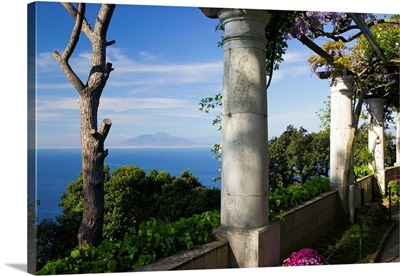 Balcony overlooking the sea, Villa San Michele, Capri, Naples, Campania, Italy
