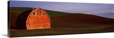 Barn in a field at sunset, Palouse, Whitman County, Washington State,