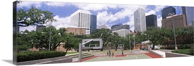 Basketball court with skyscrapers in the background, Houston, Texas, USA 2012