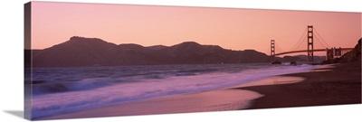 Beach and a suspension bridge at sunset Baker Beach Golden Gate Bridge San Francisco San Francisco County California