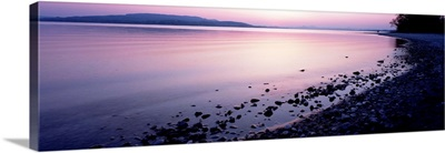 Beach at sunset, Lake Constance, Germany