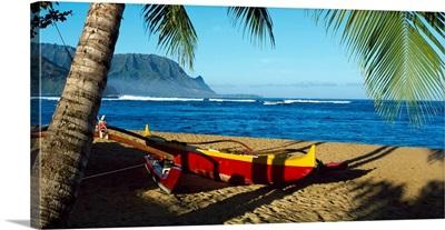 Beach Boat Hanalei Bay Kauai HI