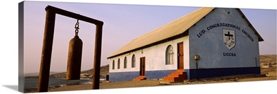 Bell in front of a church Luderitz Karas Region Namibia