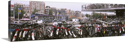 Bicycles parked in a parking lot, Amsterdam, Netherlands