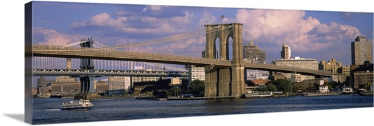 Boat in a river, Brooklyn Bridge, East River, New York City, New York State