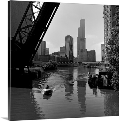Boat in a river, Chicago River, Chicago, Cook County, Illinois