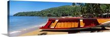 Boat on the beach Colorada Beach Mochima National Park Anzoategui State Sucre State Venezuela
