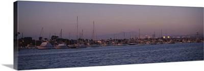Boats at a harbor, Newport Beach Harbor, Newport Beach, California