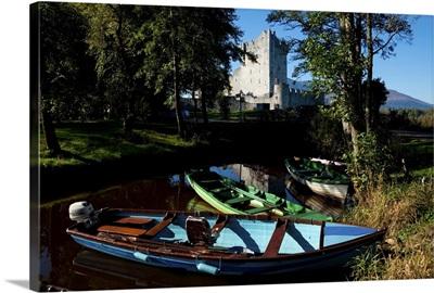Boats Beside Ross Castle on the Shores of Lough Leane, Killarney National Park, Ireland