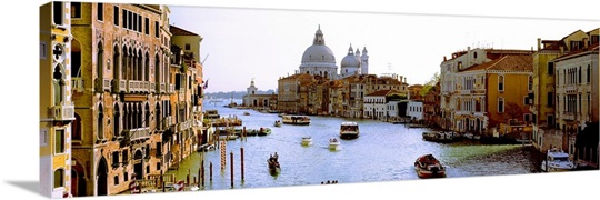 Boats in a canal with a church in the background, Santa Maria della Salute, Grand Canal, Venice, Veneto, Italy