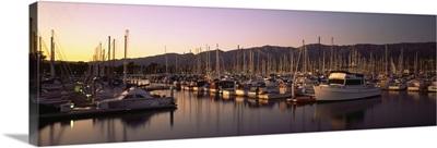 Boats moored at a harbor, Santa Barbara, California