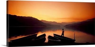 Boats on Shore Phewa Lake Nepal