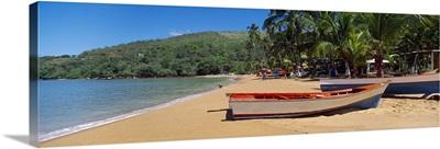 Boats on the beach Colorada Beach Mochima National Park Anzoategui State Sucre State Venezuela
