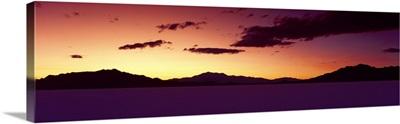 Bonneville Salt Flats UT w/ Mountains at sunset