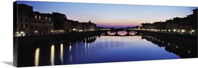 Bridge across a river Arno River Ponte Vecchio Florence Italy