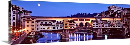 Bridge across a river, Arno River, Ponte Vecchio, Florence, Tuscany, Italy