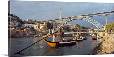 Bridge across a river Dom Luis I Bridge Duoro River Porto Portugal