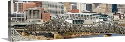 Bridge across a river Paul Brown Stadium Cincinnati Hamilton County Ohio
