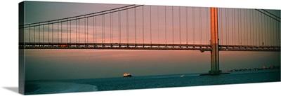 Bridge across the river, Verrazano Narrows Bridge, New York Harbor, New York City, New York State,