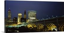 Bridge in a city lit up at night, Detroit Avenue Bridge, Cleveland, Ohio