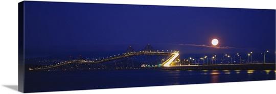 Bridge lit up at night, Richmond-San Rafael Bridge, San Rafael, California