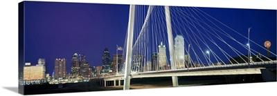 Bridge with skyscrapers in the background, Margaret Hunt Hill Bridge, Dallas, Texas