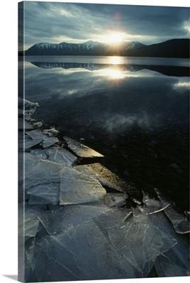 Broken Shoreline Ice On Mcdonald Lake