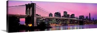 Brooklyn Bridge across the East River at dusk, Manhattan, New York City, New York State