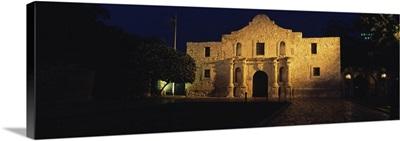 Building lit up at night, Alamo, San Antonio Missions National Historical Park, San Antonio, Texas