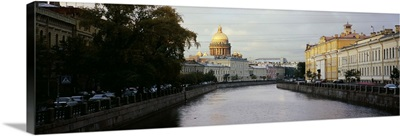 Buildings along a river, Moika River, St. Isaacs Cathedral, St. Petersburg, Russia