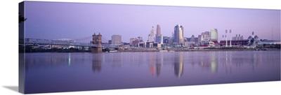 Buildings at the waterfront at dusk, Ohio River, Cincinnati, Ohio