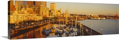 Buildings at the waterfront, Elliott Bay, Bell Harbor Marina, Seattle, King County, Washington State,