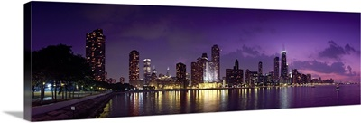 Buildings at the waterfront, Hancock Building, Lake Michigan, Chicago, Cook County, Illinois,