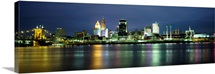 Buildings at the waterfront lit up at night, Ohio River, Cincinnati, Ohio