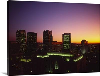 Buildings in a city at dusk, Birmingham, Alabama,