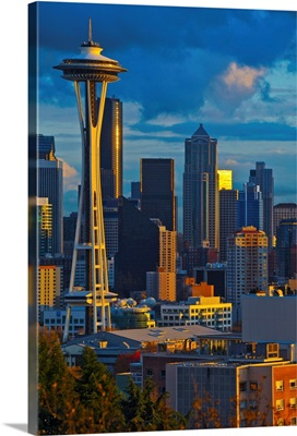 Buildings in a city at sunset, Space Needle, Seattle, King County, Washington State