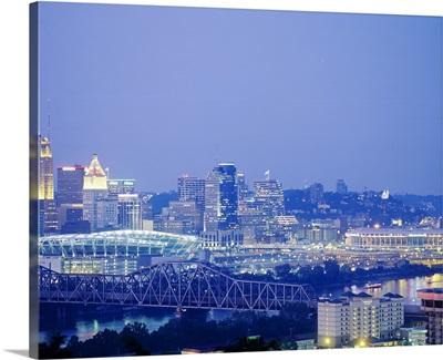Buildings in a city lit up at dusk, Cincinnati, Hamilton, Ohio