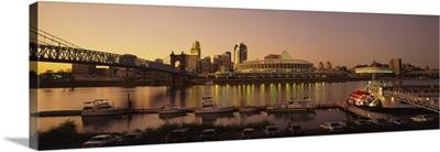 Buildings in a city lit up at dusk, Cincinnati, Ohio
