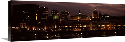 Buildings in a city lit up at night, Bonsecours Market, City Hall, Montreal, Quebec, Canada